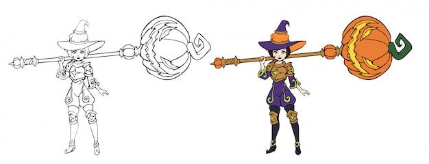 Mała czarownica fantasy w złotej zbroi z wielkim magicznym młotem. wyciągnąć rękę.