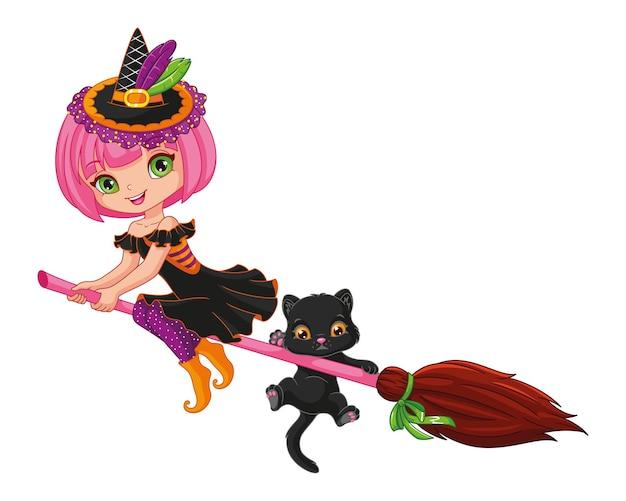 Mała czarownica latająca na miotle na halloween. ilustracja kreskówka wektor
