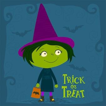 Mała czarownica trzyma torbę