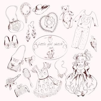Mała dziewczynka akcesoria zestaw doodle szkic
