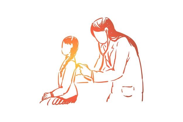 Mała dziewczynka badania zdrowia, kobieta lekarz z ilustracji stetoskop