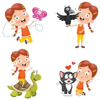 Mała dziewczynka bawi się ze zwierzętami