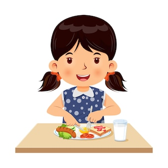 Mała dziewczynka chętnie je śniadanie ilustracja wektorowa