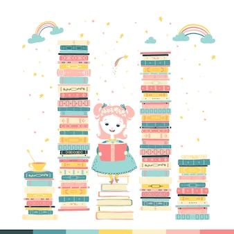 Mała dziewczynka czyta bajkę. magiczna fantazja. stosy książek. ilustracja kreskówka w pastelowych kolorach.