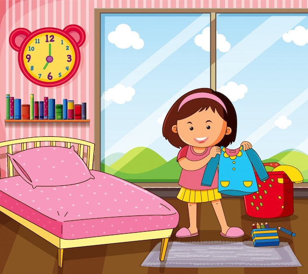 Mała Dziewczynka Dostaje Suknię W Sypialni Premium Wektorów