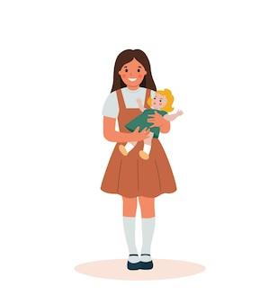 Mała dziewczynka gospodarstwa lalka na białym tle. ilustracja kreskówka wektor płaski