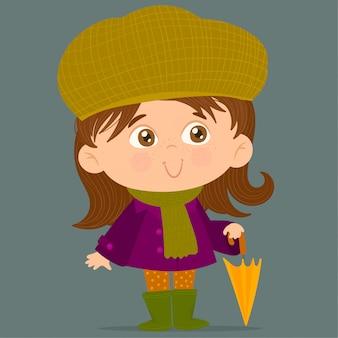 Mała dziewczynka gospodarstwa parasol