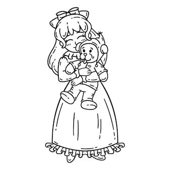 Mała dziewczynka gospodarstwa zabawki.