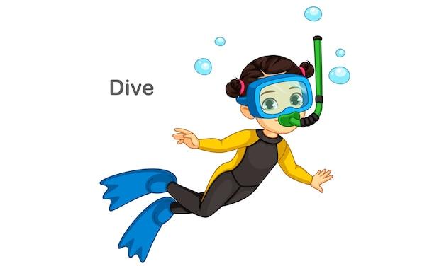 Mała dziewczynka ilustracja nurkowanie