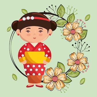 Mała dziewczynka japoński kawaii z charakterem kwiatów