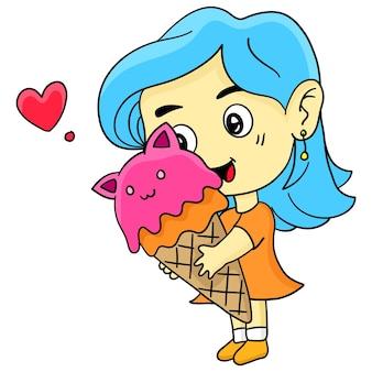 Mała dziewczynka je lody. ilustracja kreskówka śliczna naklejka