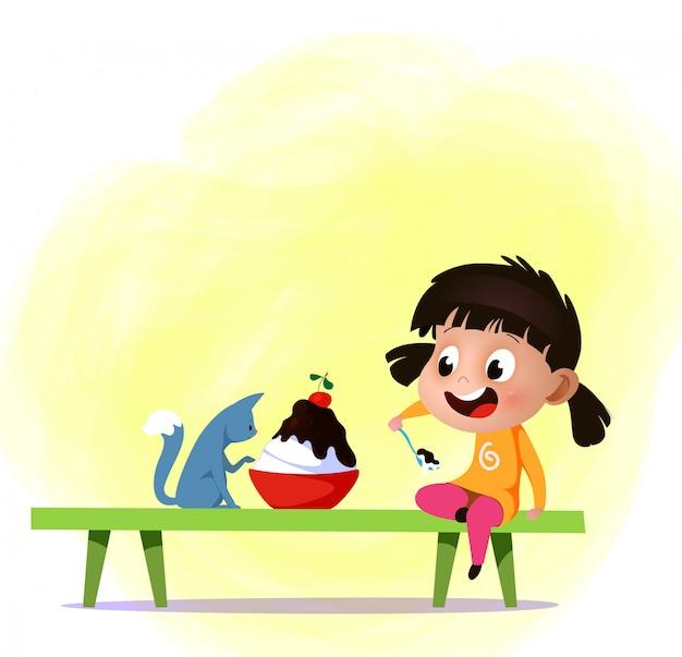 Mała dziewczynka kreskówka jedzą dużą porcję lodów