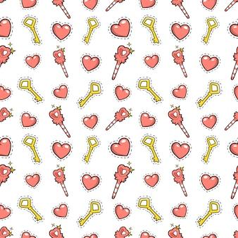 Mała dziewczynka księżniczka bezszwowe tło z różdżką, serca i złote klucze. wzór