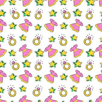 Mała dziewczynka księżniczka bezszwowe tło z różową sukienką, gwiazdami i pierścieniami. wzór