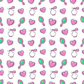Mała dziewczynka księżniczka bezszwowe tło z różowe serca, perfumy i lustro. wzór