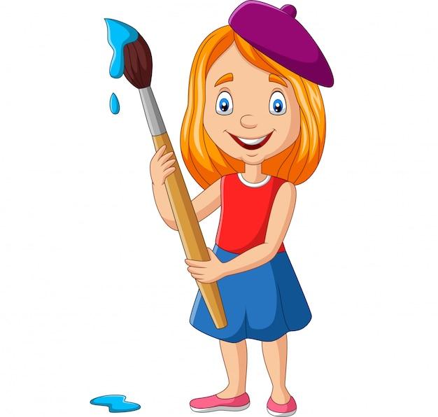 Mała dziewczynka malowanie pędzlem
