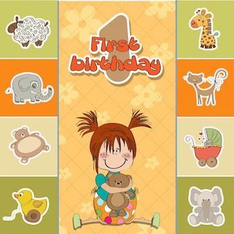 Mała dziewczynka na pierwszych urodzinach