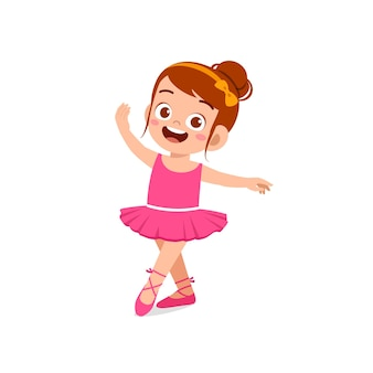 Mała dziewczynka nosić piękny kostium baleriny i tańczyć