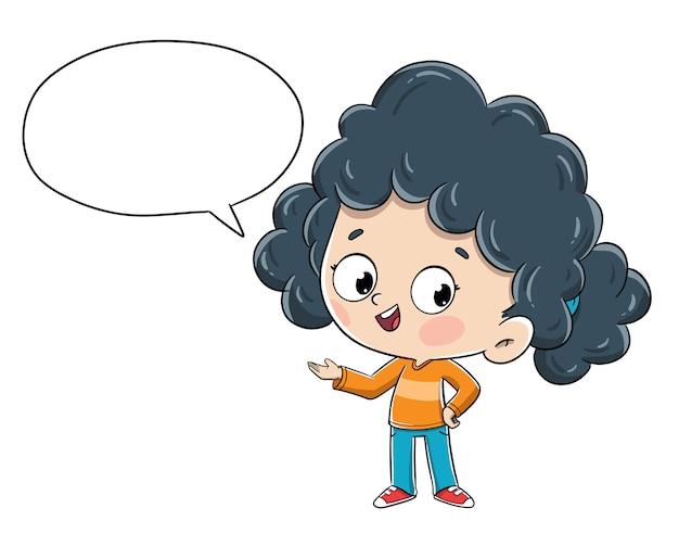 Mała dziewczynka opowiada mówić coś z komicznym mowa bąblem