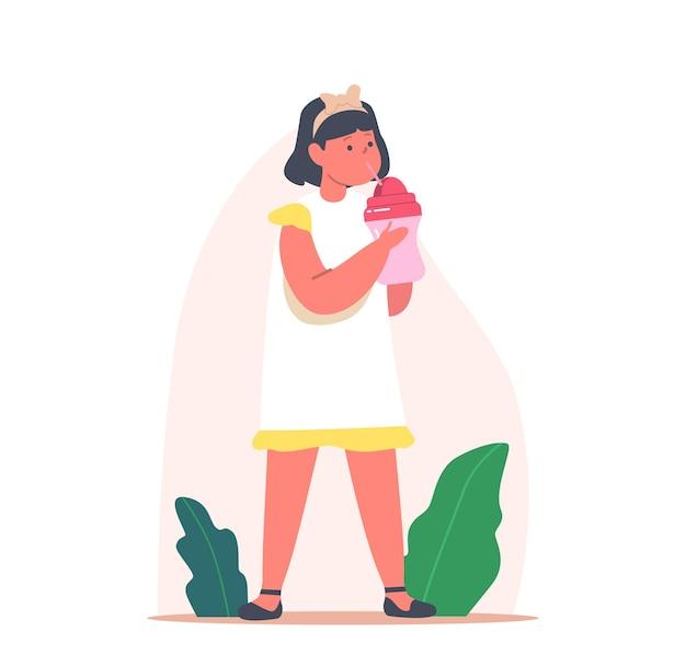 Mała dziewczynka pije czystą wodę, mleko lub sok. postać dziecka z butelką dla niemowląt i słomką, ciesząc się świeżym napojem, letnim orzeźwieniem, nawodnieniem organizmu, napojem. ilustracja wektorowa kreskówka ludzie