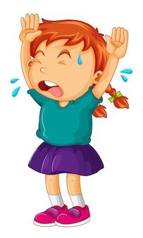Mała dziewczynka płacze z rękami do góry