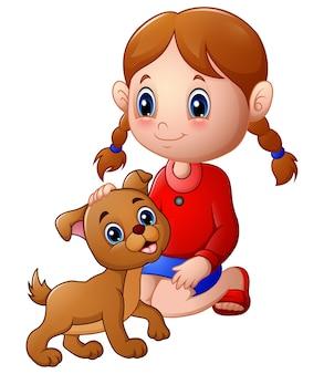 Mała dziewczynka pogłaskała psa po głowie