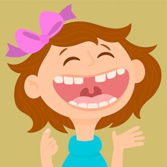 Mała dziewczynka pokazuje daleko jej pierwszy przegranego dojnego ząb