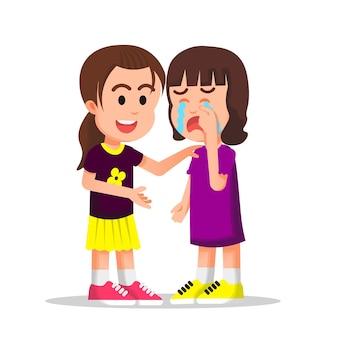 Mała dziewczynka próbuje pocieszyć płaczącego przyjaciela