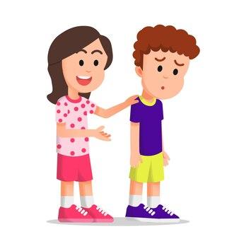 Mała dziewczynka próbuje pocieszyć swoją przyjaciółkę, która wygląda na zdesperowaną
