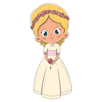 Mała dziewczynka robi pierwszej komunii blondynce