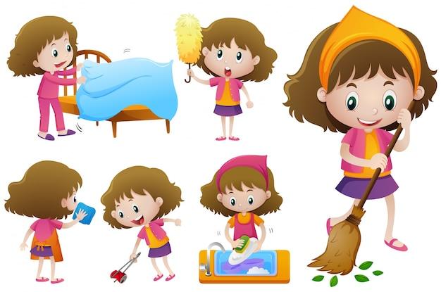 Mała dziewczynka robi różne prace domowe