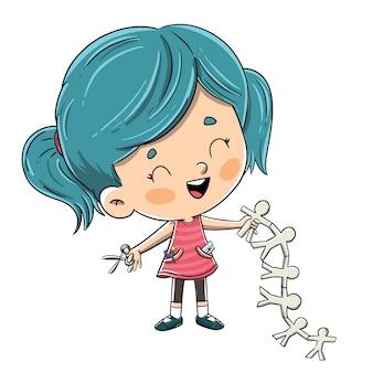 Mała dziewczynka robi rzemiosłom z nożycami