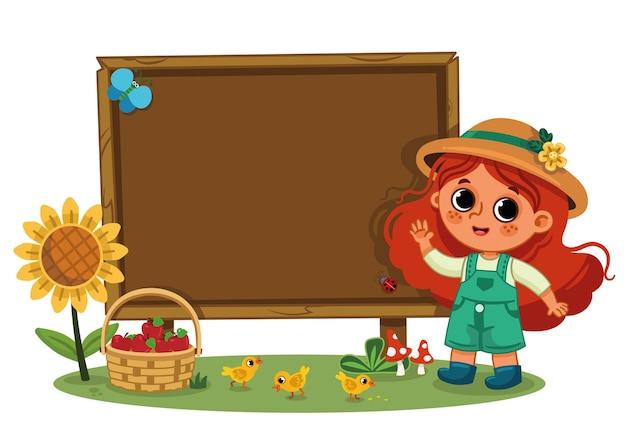 Mała dziewczynka rolnik i pusta drewniana deska na białym tle ilustracja wektorowa dla dzieci