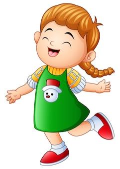 Mała dziewczynka, śmiejąc się i uśmiechając się