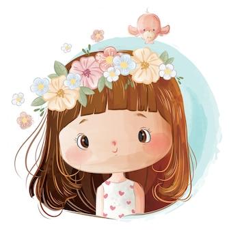 Mała dziewczynka sobie wieniec kwiatów na głowie
