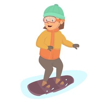 Mała dziewczynka szczęście grać na snowboardzie