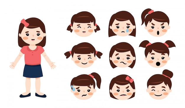 Mała dziewczynka ubrana w bluzkę i niebieską spódniczkę o różnych twarzach