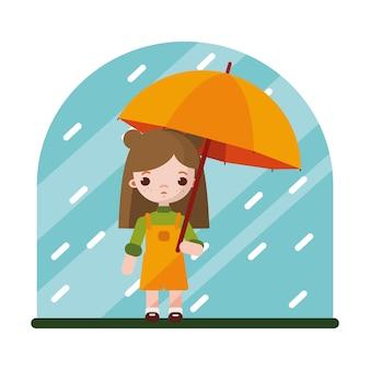 Mała dziewczynka ukryła się przed deszczem pod parasolem
