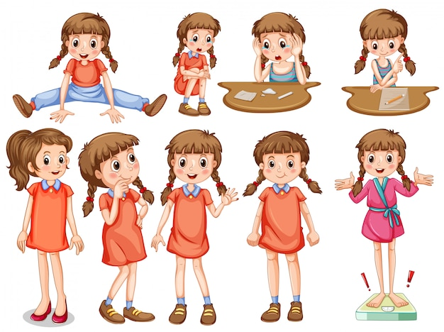 Mała dziewczynka w różnych akcjach