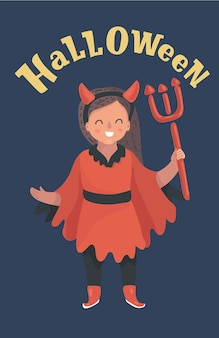 Mała dziewczynka w stroju diabła z trójzębem
