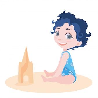 Mała Dziewczynka W Stroju Kąpielowym, Siedząc Na Podłodze Lub Na Plaży. Wypoczynek Dla Dzieci Na Plaży. Ilustracja Na Białym Tle. Premium Wektorów