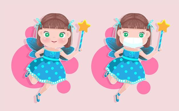 Mała dziewczynka w stroju wróżki trzyma magiczną różdżkę. kreskówka mała maska dziewczynki covid-19 zapobiega koncepcji.
