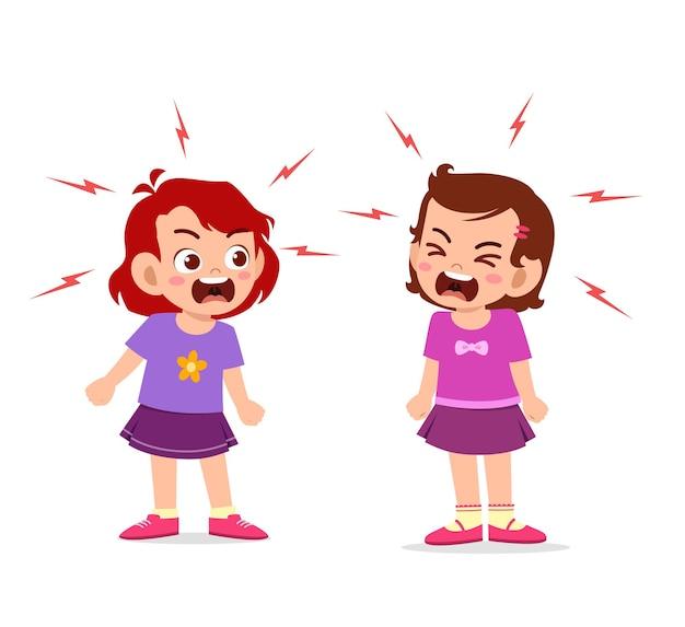 Mała dziewczynka walczy i kłóci się ze swoim przyjacielem
