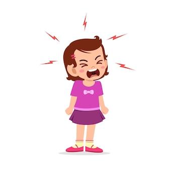Mała dziewczynka wpada w złość i krzyczy bardzo głośno