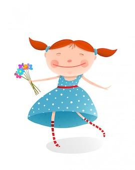 Mała dziewczynka z bukietem kwiatów na sobie niebieską sukienkę