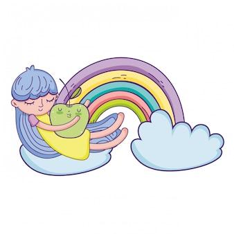 Mała dziewczynka z jabłkowym kawaii charakterem