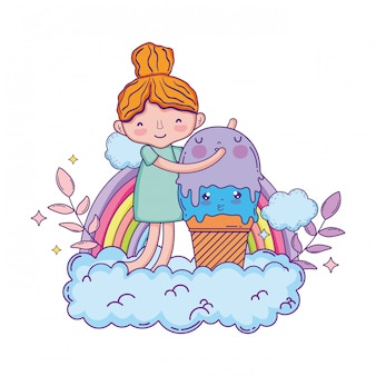 Mała dziewczynka z lody kawaii charakterem