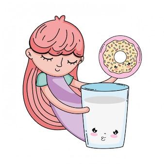 Mała dziewczynka z mlekiem i pączkiem kawaii charakter
