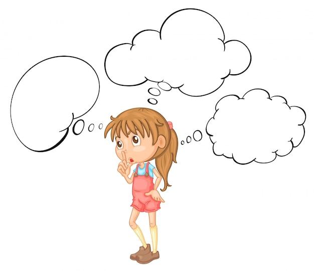 Mała dziewczynka z mowa bąbla szablonem