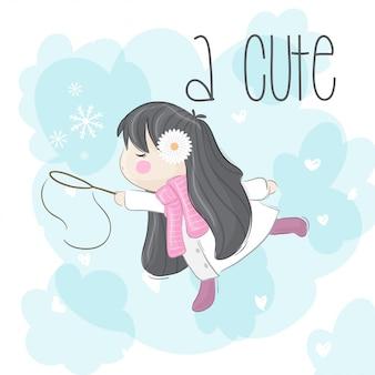 Mała dziewczynka z płatkiem śniegu